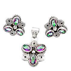 Clearance Sale- 10.43cts multi color rainbow topaz 925 silver pendant earrings set d44437