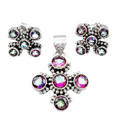 Clearance Sale- 11.02cts multi color rainbow topaz 925 silver pendant earrings set d44438