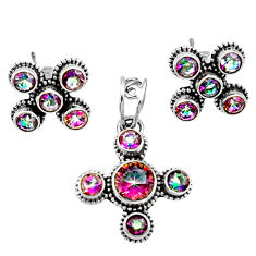 Clearance Sale- 7.24cts multi color rainbow topaz 925 silver pendant earrings set d44450