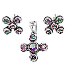 Clearance Sale- 7.78cts multi color rainbow topaz 925 silver pendant earrings set d44454
