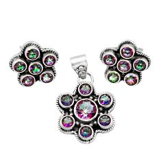 Clearance Sale- 11.30cts multi color rainbow topaz 925 silver pendant earrings set d44461