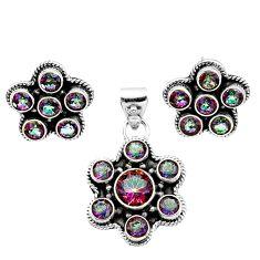 Clearance Sale- 11.02cts multi color rainbow topaz 925 silver pendant earrings set d44463