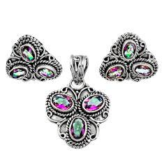 Clearance Sale- 10.43cts multi color rainbow topaz 925 silver pendant earrings set d44466