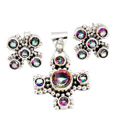 12.52cts multi color rainbow topaz 925 silver pendant earrings set r20950