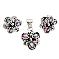10.44cts multi color rainbow topaz 925 silver pendant earrings set r20955