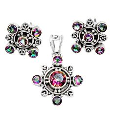Clearance Sale- 6.92cts multi color rainbow topaz round 925 silver pendant earrings set d44412