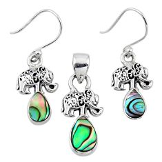 Natural abalone paua seashell 925 silver elephant pendant earrings set r55744