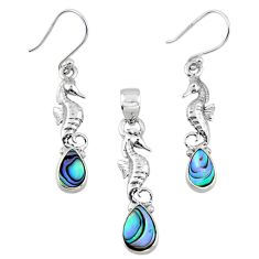 Natural abalone paua seashell 925 silver seahorse pendant earrings set r55747
