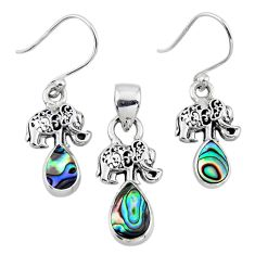 Natural abalone paua seashell silver elephant pendant earrings set r55728