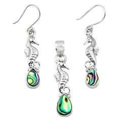 Natural abalone paua seashell silver seahorse pendant earrings set r55726