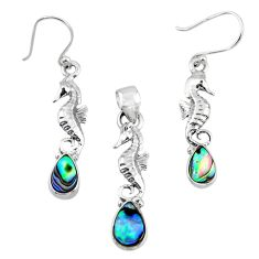 Natural abalone paua seashell silver seahorse pendant earrings set r55727