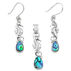 Natural abalone paua seashell silver seahorse pendant earrings set r55729