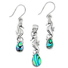 Natural abalone paua seashell silver seahorse pendant earrings set r55745