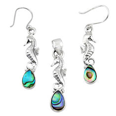 Natural abalone paua seashell silver seahorse pendant earrings set r55746