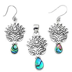 Natural abalone paua seashell silver tree of life pendant earrings set r55748