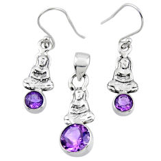 5.07cts natural amethyst 925 silver buddha charm pendant earrings set r55770