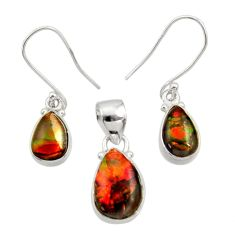 13.09cts natural ammolite (canadian) 925 silver pendant earrings set d44516