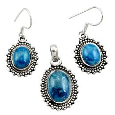 13.85cts natural apatite (madagascar) 925 silver pendant earrings set d44512