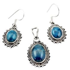 12.32cts natural apatite (madagascar) 925 silver pendant earrings set d45869