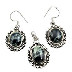 Clearance Sale- 12.58cts natural black vivianite 925 sterling silver pendant earrings set d44514