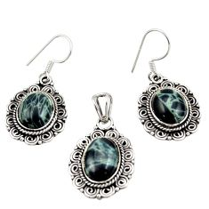 15.72cts natural black vivianite 925 sterling silver pendant earrings set d47629