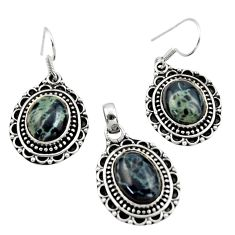 16.30cts natural black vivianite 925 sterling silver pendant earrings set r42879