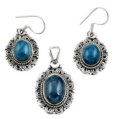 12.83cts natural blue apatite (madagascar) silver pendant earrings set d44492