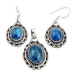 13.33cts natural blue apatite (madagascar) silver pendant earrings set d45868