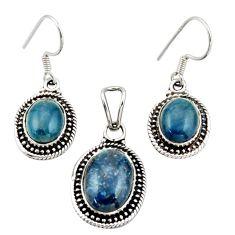 10.74cts natural blue apatite (madagascar) silver pendant earrings set d45872