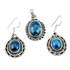 15.72cts natural blue apatite (madagascar) silver pendant earrings set d47359