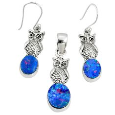 6.18cts natural blue doublet opal australian silver pendant earrings set r69946