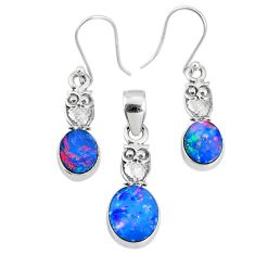 5.53cts natural blue doublet opal australian silver pendant earrings set r69947