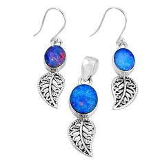 6.32cts natural blue doublet opal australian silver pendant earrings set r69951