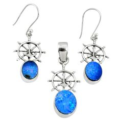 5.53cts natural blue doublet opal australian silver pendant earrings set r69954
