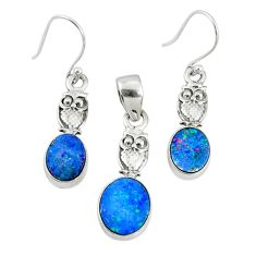 5.53cts natural blue doublet opal australian silver pendant earrings set r69962