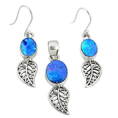 6.33cts natural blue doublet opal australian silver pendant earrings set r69973