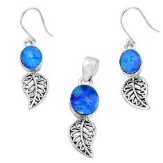 6.33cts natural blue doublet opal australian silver pendant earrings set r69974