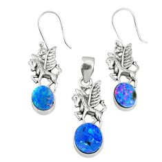 7.61cts natural blue doublet opal australian silver pendant earrings set r69976