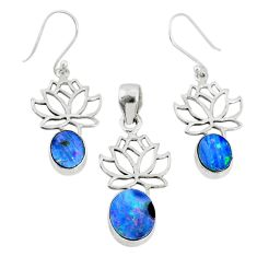 6.15cts natural blue doublet opal australian silver pendant earrings set r69977