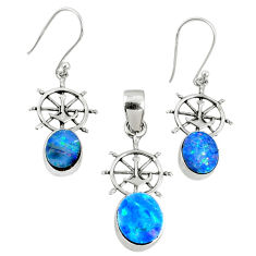 5.52cts natural blue doublet opal australian silver pendant earrings set r69979