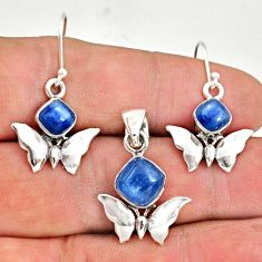 7.13cts natural blue kyanite 925 silver butterfly pendant earrings set r70050