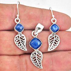 6.57cts natural blue kyanite 925 silver leaf charm pendant earrings set r70055