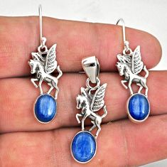 10.22cts natural blue kyanite 925 silver unicorn pendant earrings set r70045