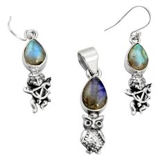 10.84cts natural blue labradorite 925 silver owl pendant earrings set r20961