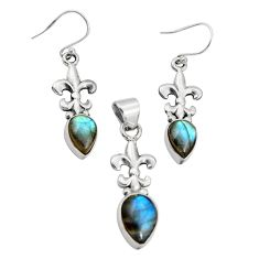 10.67cts natural blue labradorite 925 silver pendant earrings set r20963