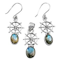 6.74cts natural blue labradorite 925 sterling silver pendant earrings set r55731
