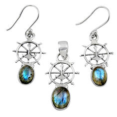 7.07cts natural blue labradorite 925 sterling silver pendant earrings set r55732