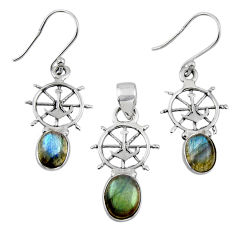 6.26cts natural blue labradorite 925 sterling silver pendant earrings set r55754