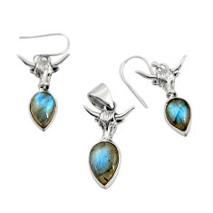11.22cts natural blue labradorite pear 925 silver pendant earrings set r20962