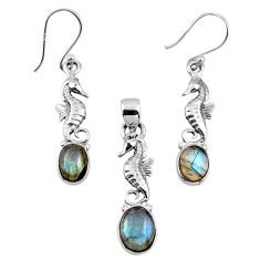 7.10cts natural blue labradorite silver seahorse pendant earrings set r55753